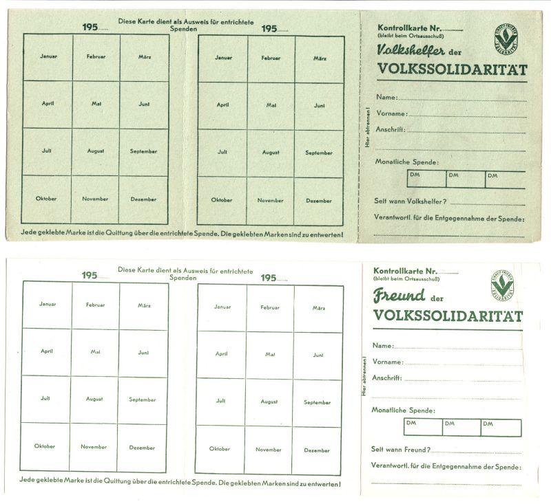 Zwei Mitgliedskarten blanko, Volkshelfer bzw. Freund der Volkssolidarität, 1951