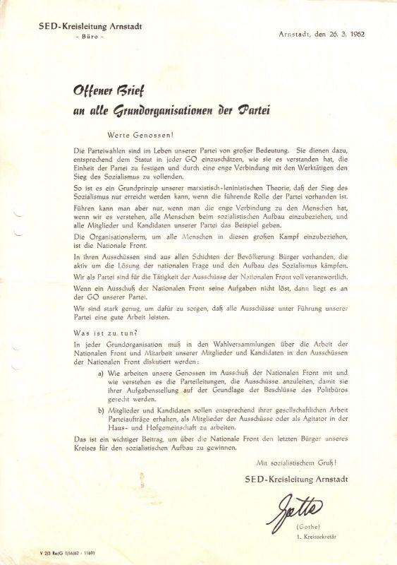 Brief der SED-Kreisleitung Arnstadt zur Führung der Nationalen Front, 1962