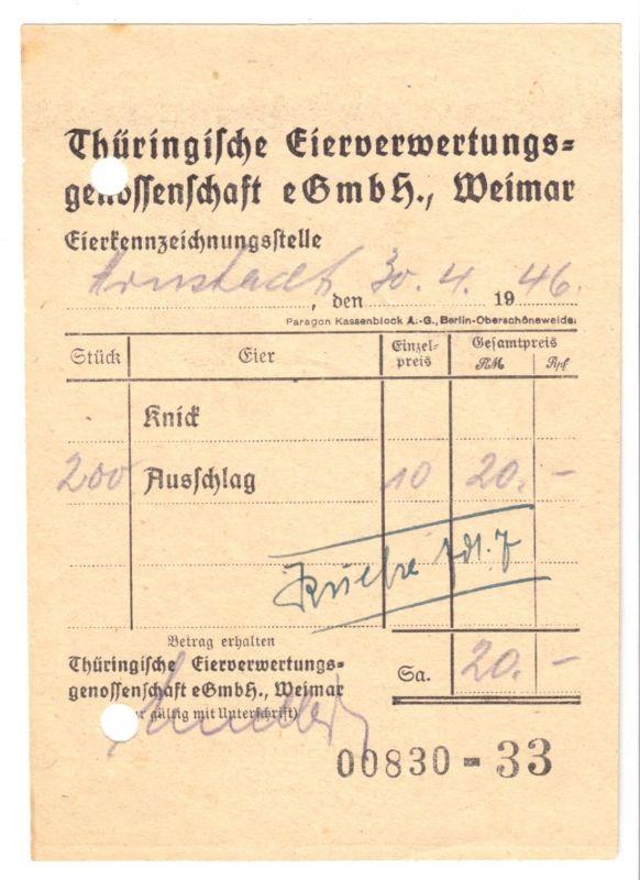 Quittung, Thüringische Eierverwertungsgenossenschaft eGmbH Weimar, 30.4.46