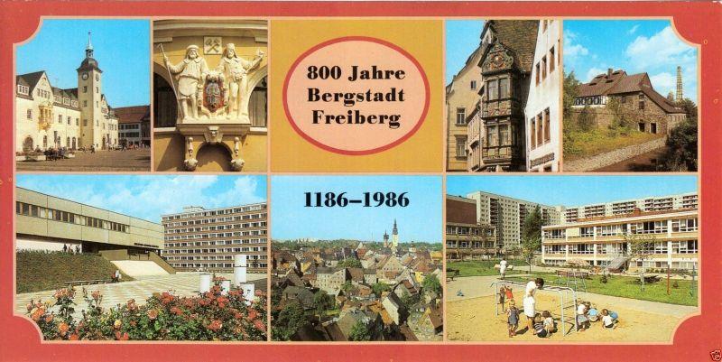 Ansichtskarte lang, Freiberg Sachs., 800 Jahre Bergstadt Freiberg, 1186 - 1986, 1985
