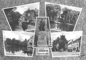 Ansichtskarte, Lübben Spreewald, 5 Abb., u.a. Breite Str., 1964