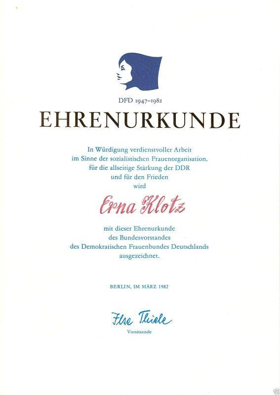 Ehrenurkunde, DDR, Bundesvorstand des DFD, 35. Jahrestag, 1982