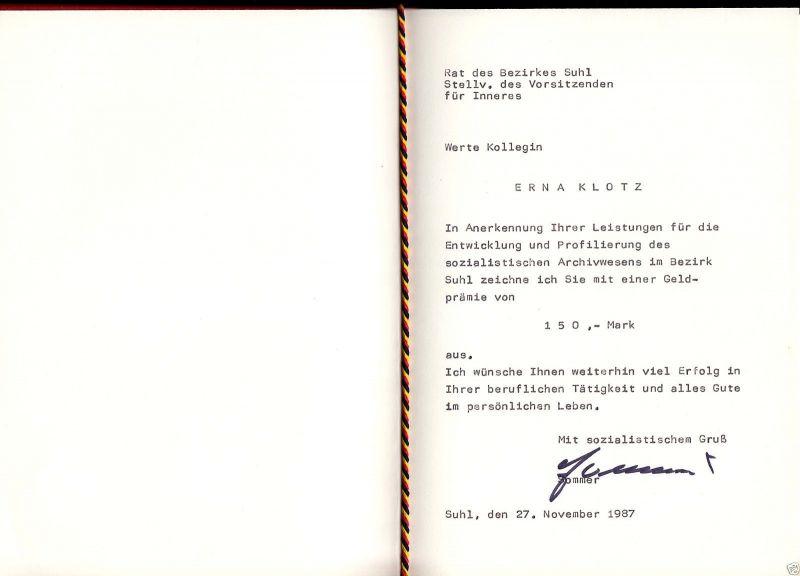 Urkunde, Auszeichnung mit Geldprämie, mit Mappe, 1987, Rat des Bezirkes Suhl