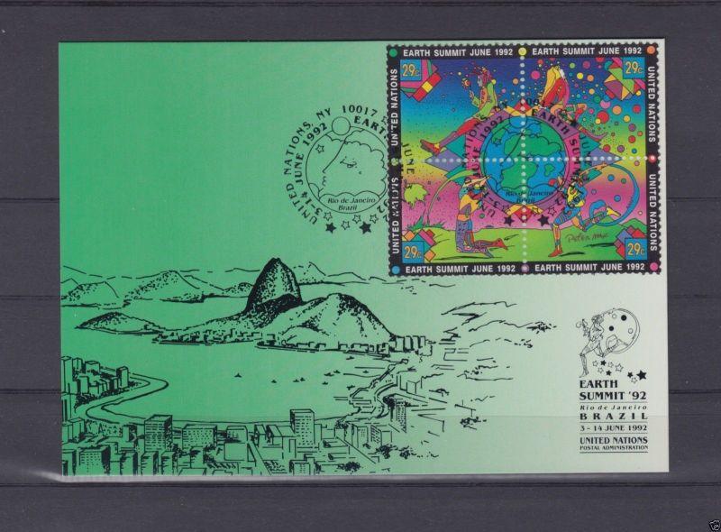 Michel-Nr. UNO NY 629-32, Show Card 8, o United Nations, NY 10017, 3.6.92