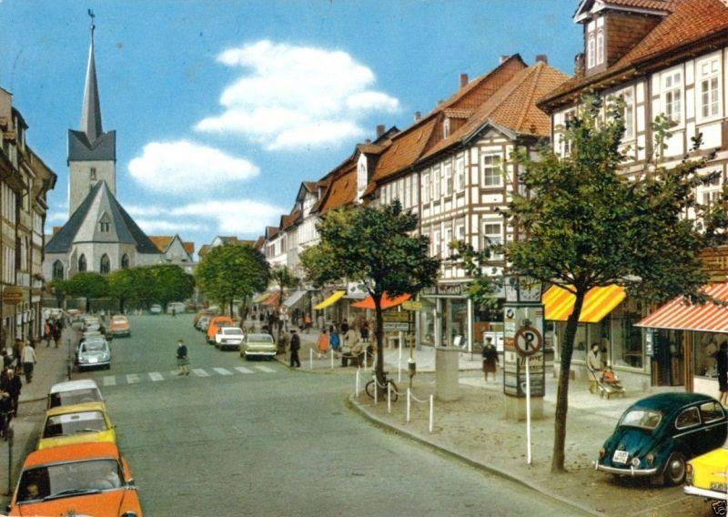 Ansichtskarte, Duderstadt, Marktstr. mit St. Servatiuskirche, belebt, 1970