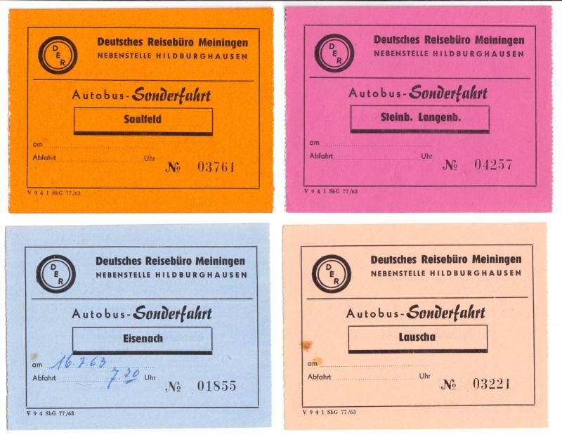 Vier Busfahrkarten für Ferien-Sonderfahrten, DER Reisebüro Hildburghausen, 1963 0