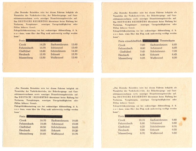 Vier Busfahrkarten für Ferien-Sonderfahrten, DER Reisebüro Hildburghausen, 1963 1