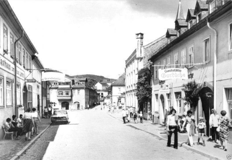 Ansichtskarte, Leutenberg Thür., Straßenpartie mit Gaststätte 1990