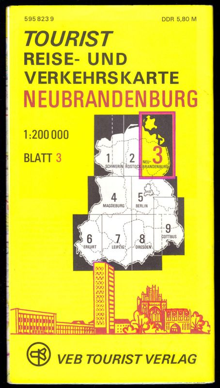 Tourist Reise und Verkehrskarte der DDR, Blatt 3, Neubrandenburg, 1979