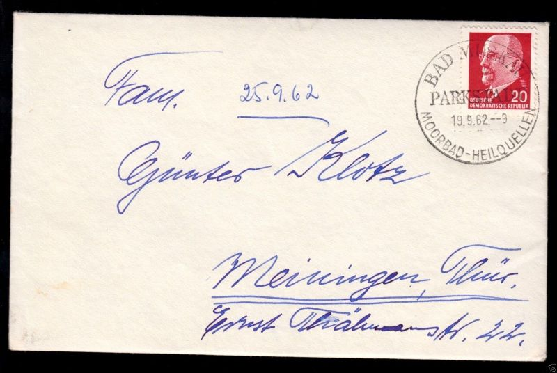Bedarfsbrief, Mi.-Nr. DDR 848 EF, o Bad Muskau, Parkstadt, 19.9.62, SSt