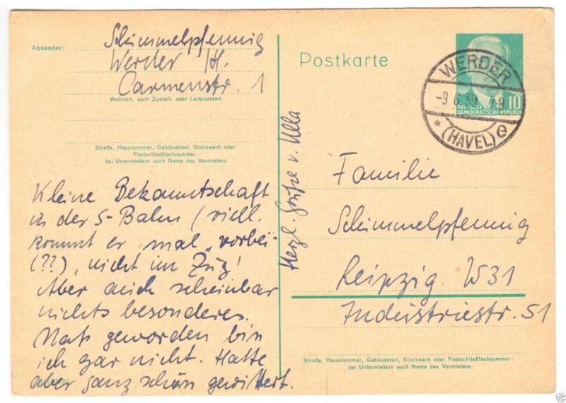 Ganzsachenkarte, Mi.-Nr. DDR P68a, o Werder (Havel), 9.6.59
