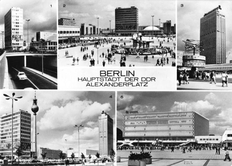Ansichtskarte, Berlin Mitte, Alexanderplatz, fünf Abb., 1972