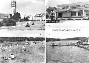 Ansichtskarte, Grevesmühlen Meckl., vier Abb., u.a. Kaufhalle, Wasserturm, 1981