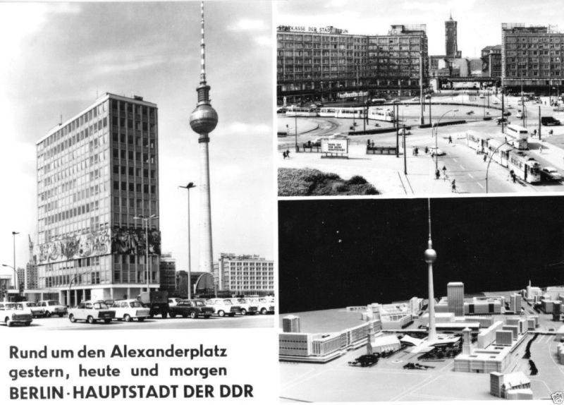 Ansichtskarte, Berlin Mitte, Alexanderplatz, drei Abb., 1969