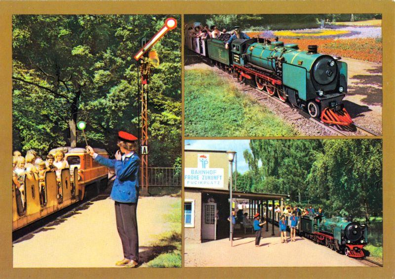 Ansichtskarte, Dresden, Pioniereisenbahn im Großen Garten, drei Abb., 1989