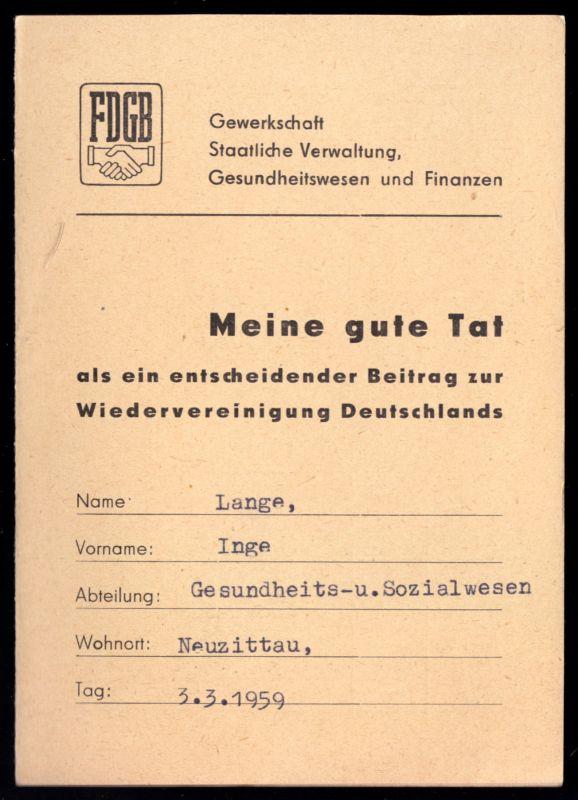Tatenheft des FDGB, 1959, Bez. Frankfurt Oder
