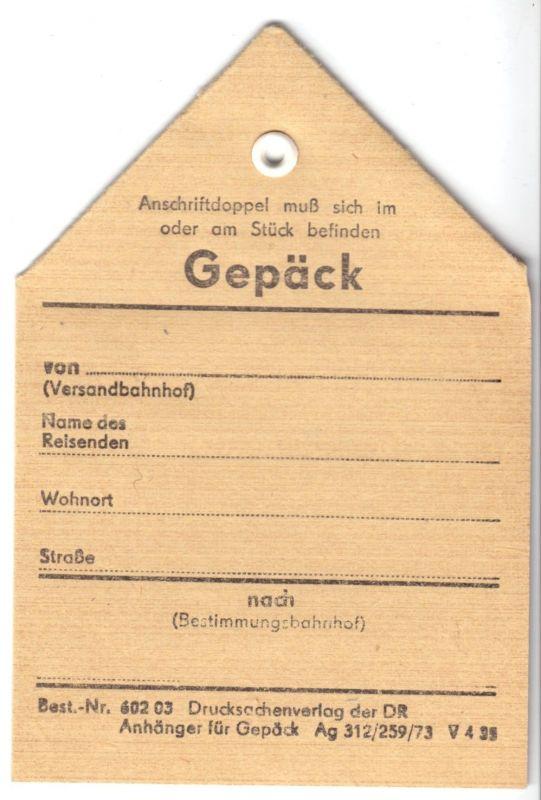 Gepäckanhänger für Reisegepäck bei der Deutschen Reichsbahn, blanko, 1973