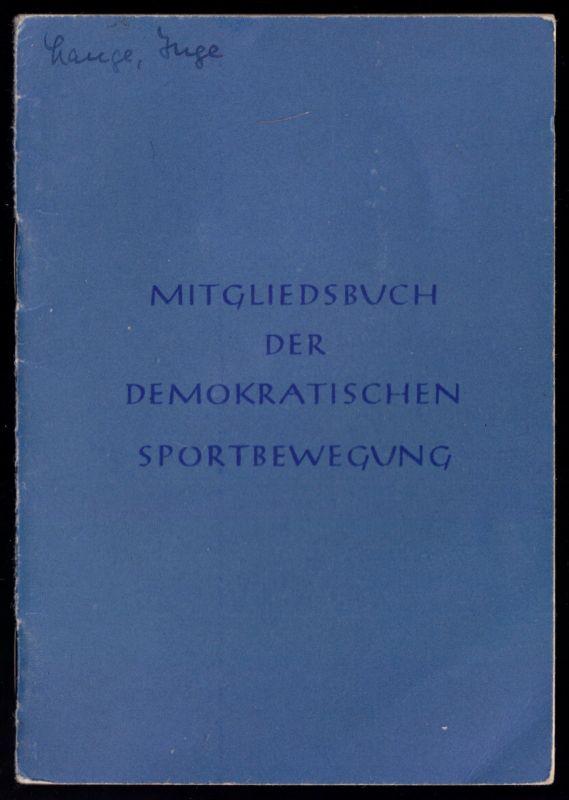Demokratische Sportbewegung, frühes Mitgliedsbuch, 1950-1952