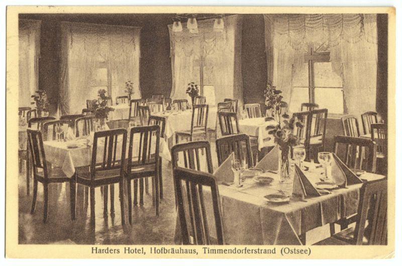 Ansichtskarte, Timmendorferstrand (Ostsee), Harders Hotel Hofbräuhaus, Gastraum, 1927