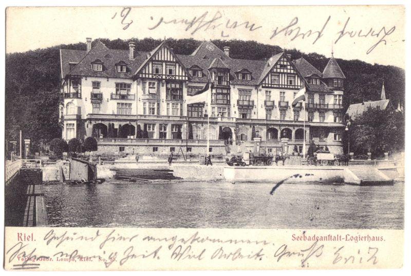 Ansichtskarte, Kiel,  Seebadeanstalt - Logierhaus, 1903