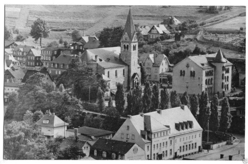 Ansichtskarte, Steinach Thür. Wald, Teilansicht mit Kirche, 1958
