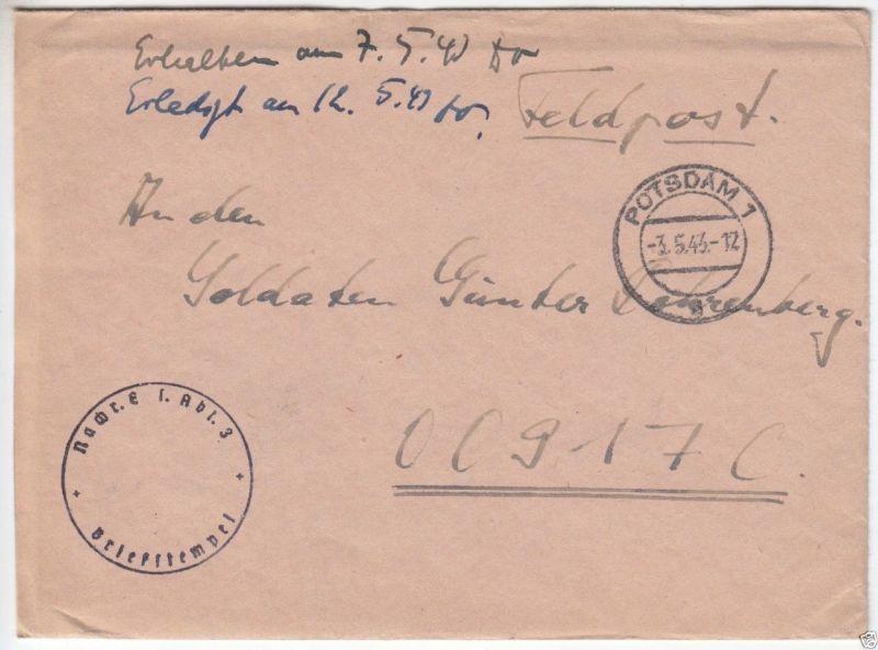 Feldpostbrief II. WK, Nachr. Ers. Abt. 3, o Potsdam 1, 3.5.43