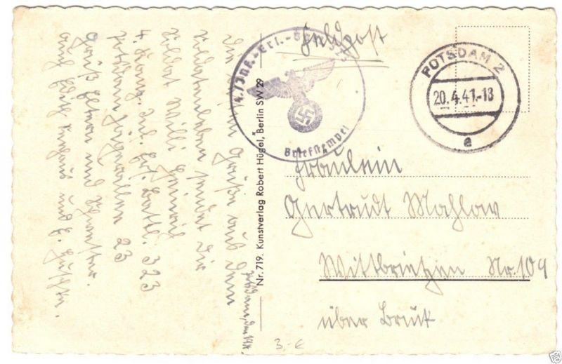 Feldpostkarte II. WK, 4. Inf.-Ers.-Batl. 523, o Potsdam 2, 20.4.41