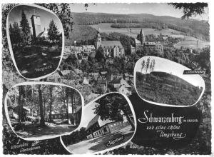 Ansichtskarte, Schwarzenberg Erzgeb., fünf Abb., gestaltet, 1962