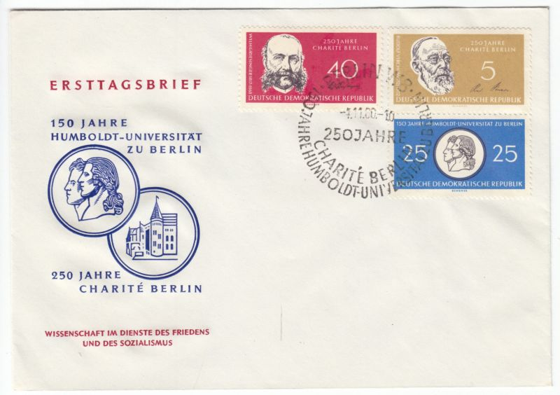 FDC, Mi.-Nr. DDR 795/98/99, o SSt, Berlin W 8, 1.11.1960