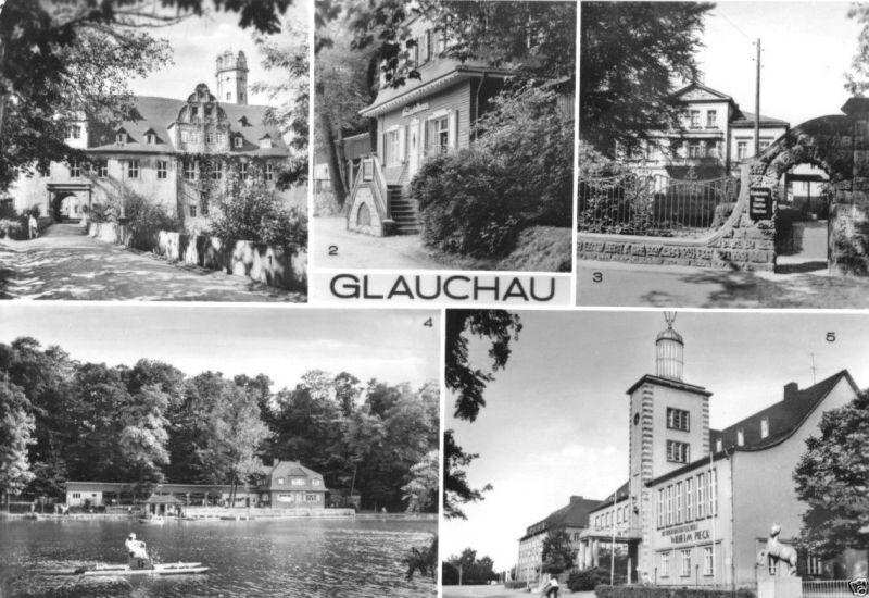 Ansichtskarte, Glauchau, fünf Abb., 1983