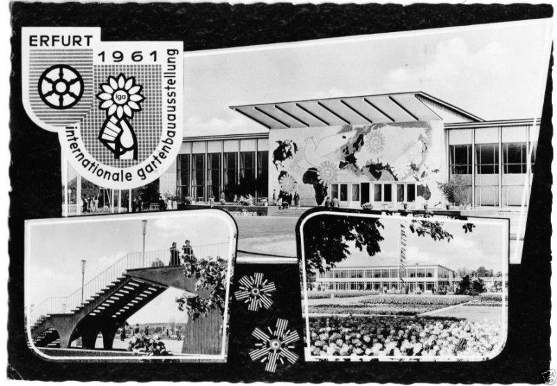 Ansichtskarte, Erfurt, IGA 1961, drei Abb., gestaltet, 1961