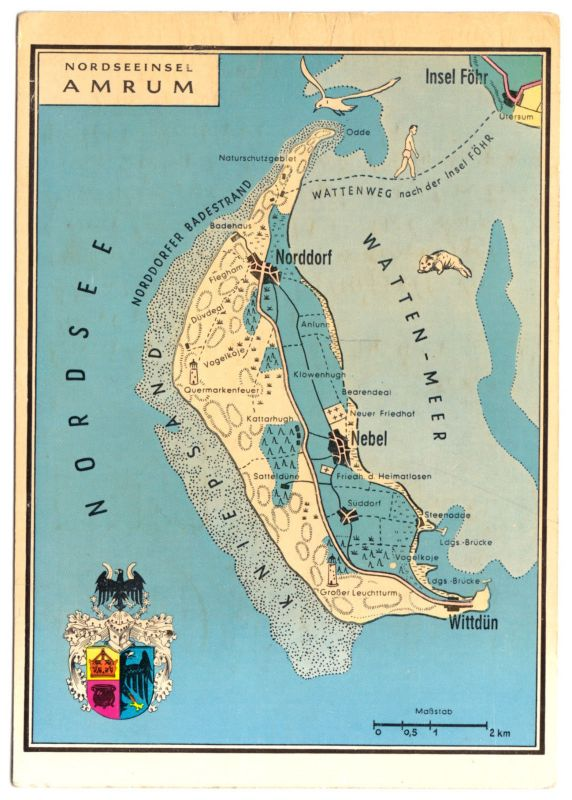 Ansichtskarte Nordseeinsel Amrum Landkarte Der Insel Um 1975 Nr