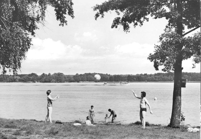 Ansichtskarte, Wendisch Rietz Kr. Beeskow, Jugenderholungszentrum, Strand, 1981