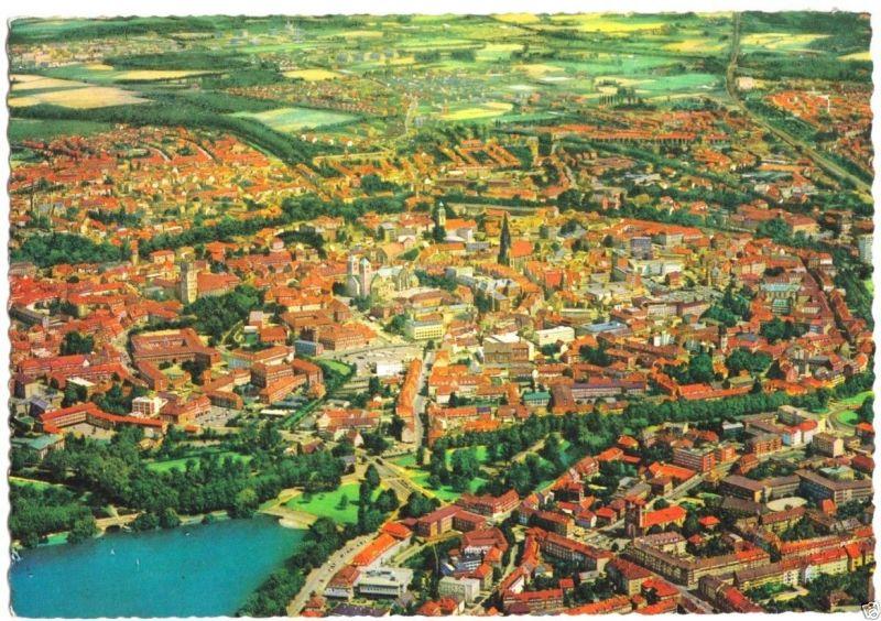 Ansichtskarte, Münster Westf., Altstadt mit Promenade und Aasee, Luftbild, um 1970