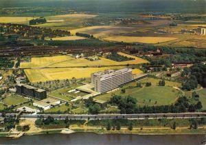 Ansichtskarte, Porz am Rhein, Krankenhaus, Luftbildansicht, Bahnanlagen, um 1980