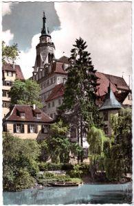 Ansichtskarte, Tübingen a. Neckar, Stiftskirche und Hölderlinturm, 1958