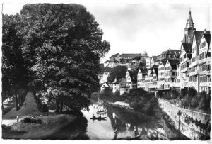 Ansichtskarte, Tübingen, Neckar mit Platanenallee, 1958