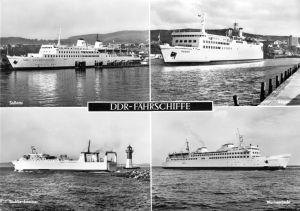 Ansichtskarte groß, DDR Fährschiffe, vier Abb., 1975
