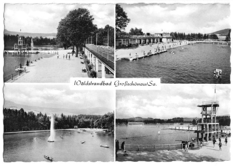 Ansichtskarte, Großschönau Sa., Waldstrandbad, vier Abb., 1961