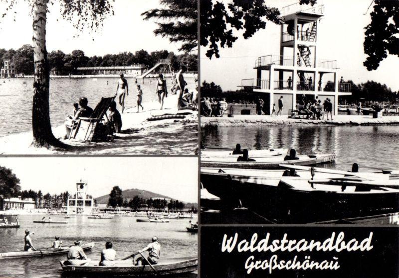 Ansichtskarte, Großschönau Kr. Zittau, Waldstrandbad, drei Abb., 1977