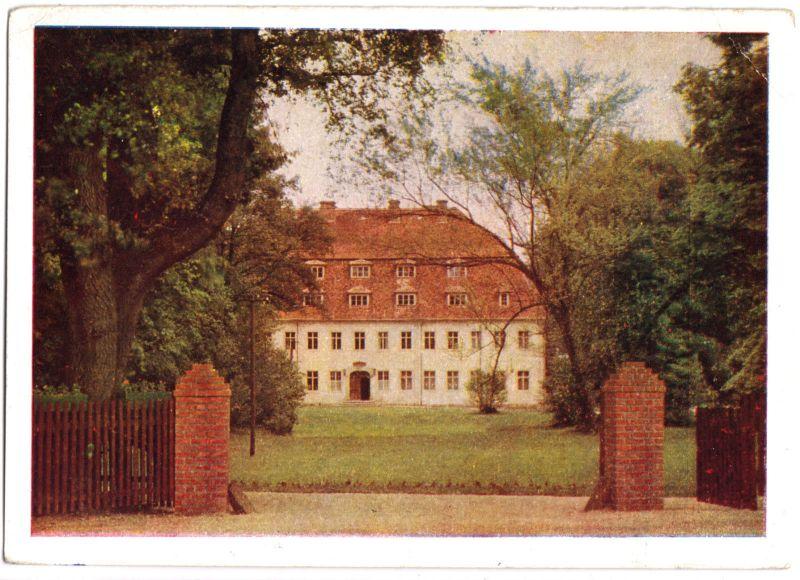 Ansichtskarte, Niesky OL, OT See, Genesungsheim, frühe DDR-Farbdruckkarte, 1955