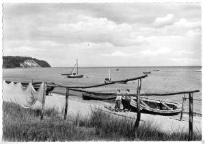 Ansichtskarte, Göhren Rügen, Am Fischerstrand, 1963