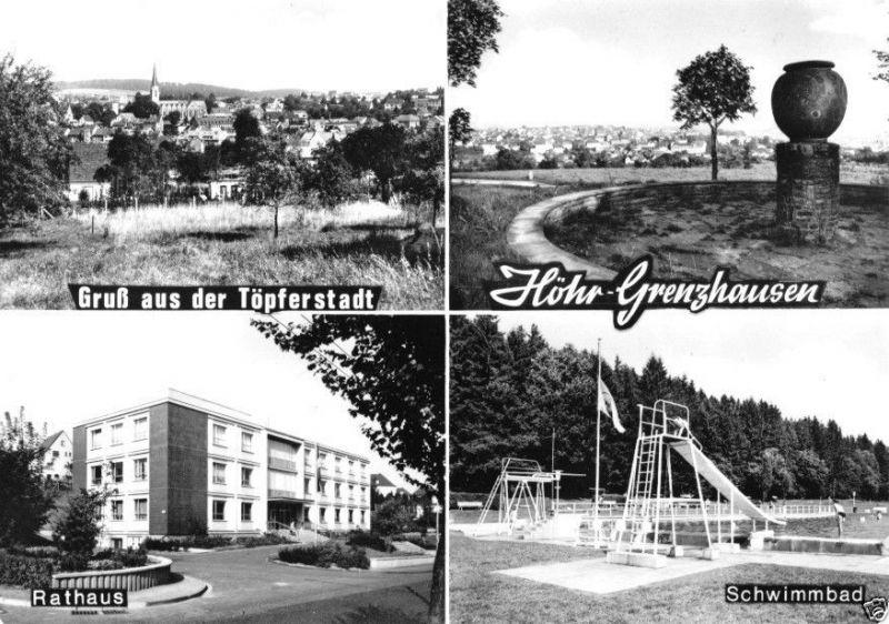 Ansichtskarte, Höhr-Grenzhausen, vier Abb., um 1973