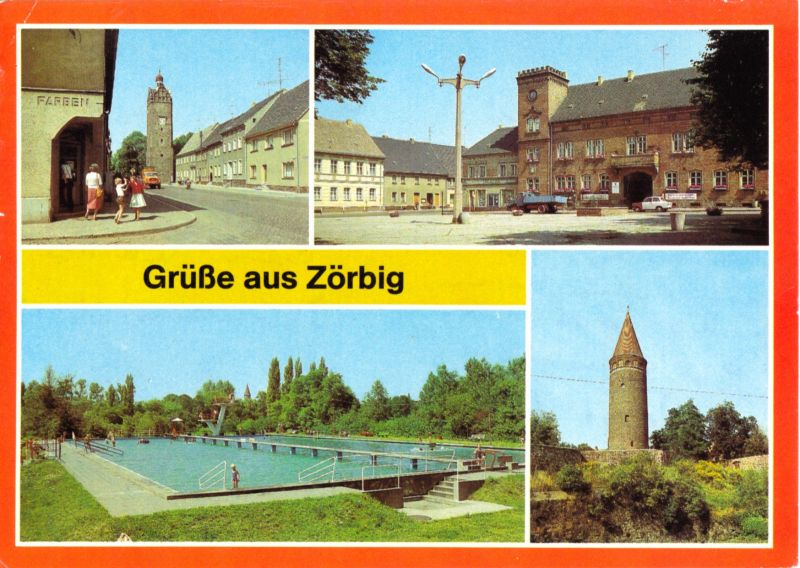 Ansichtskarte, Zörbig Kr. Bitterfeld, vier Abb., 1984