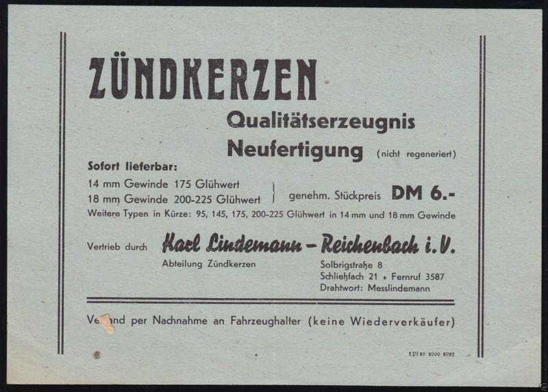 Werbeblatt, Fa. Karl Lindemann, Reichenbach i.V., Vertrieb von Zündkerzen, 1950