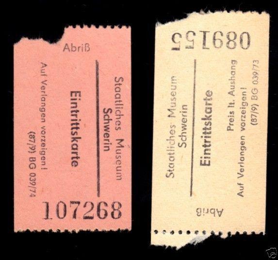 Zwei Eintrittskarten, Staatliche Museen Schwerin, 1974