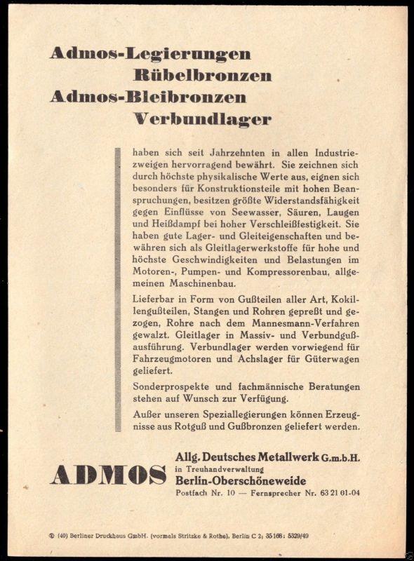 Werbeblatt, Fa. Admos, Berlin Oberschöneweide für Legierungen, 1949