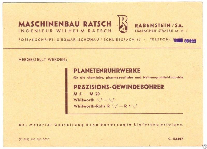 Vertreterkarte, Fa. Maschinenbau Ratsch, Rabenstein Sachs., 1948