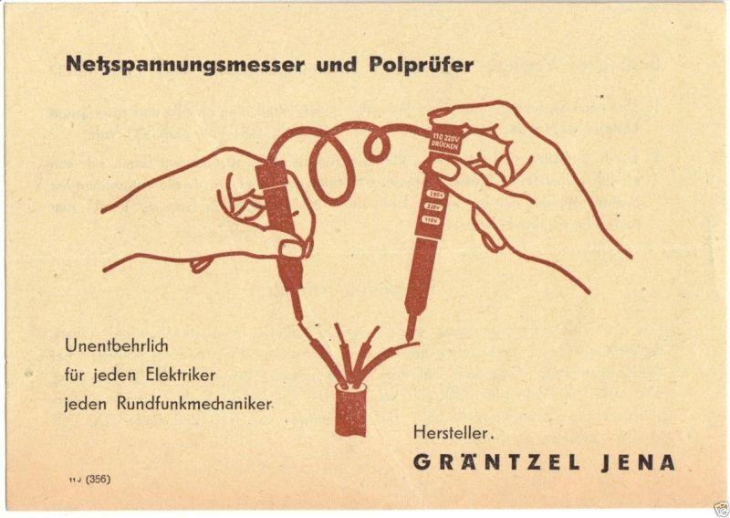 Werbezettel, Fa. Gräntzel Jena, Netzspannungsmesser und Polprüfer, um 1950
