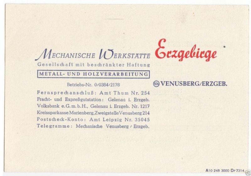 Vertreterkarte, Fa.Mechanische Werkstätte Erzgebirge, Venusberg Erzgeb., 1948